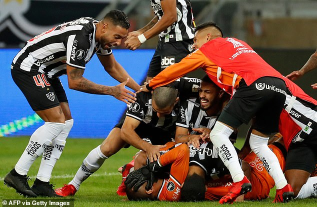 There were wild celebrations for the Atletico Mineiro's players but the evening soon soured
