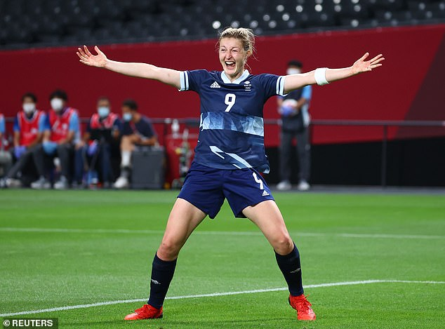 Team GB striker Ellen White celebrates scoring her and the side's second goal against Chile