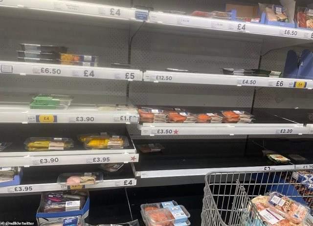 A fish section at a Tesco.The latest figures show more than 500,000 people in England and Wales were asked to isolate by the NHS app in the week up to July 1
