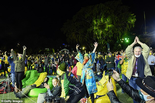 Prime Minister Scott Morrison said it was a historic day not just for Brisbane and Queensland, but for the entire country and said Australians should feel proud (pictured, celebrations in Brisbane)