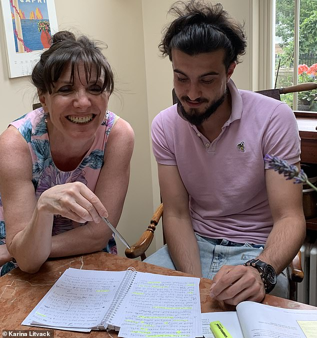 Karina Litvack, who lives in West London, opened her home up in May 2017 to refugees and asylum seekers, after deciding she wanted to try and 'give something back'. Her own grandparents had been taken in by a stranger during the Second World War (Karina and Basel, the first refugee she housed, at her home in West London)