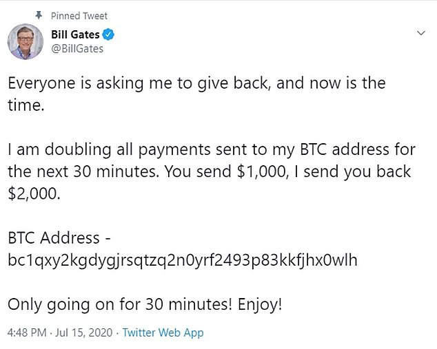 Crypto: The scam saw hackers ask followers of them to send bitcoin to an account, promising to double their money