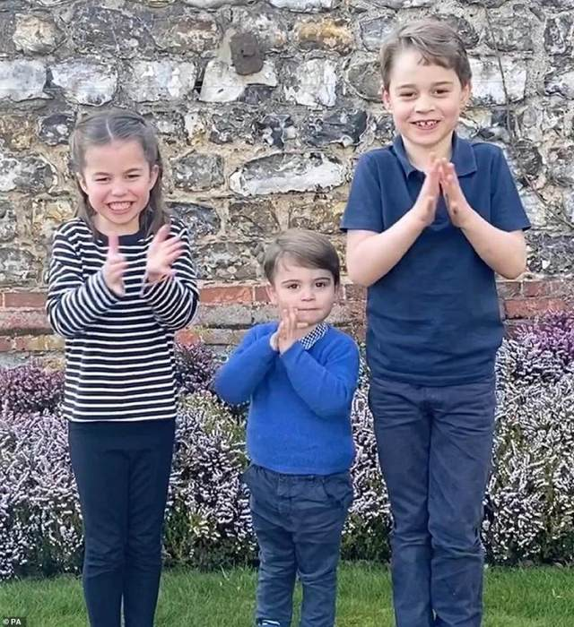Prince George has joined his family members for NHS Clap for Carers during the coronavirus lockdown from their home of Anmer Hall (pictured, with Princess Charlotte and Prince Louis in March 2020)