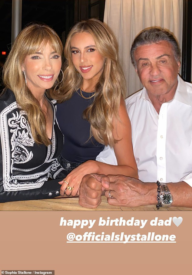 Family:The actor wed Jennifer Flavin in May 1997 and the couple welcomed Sophia, Sistine and Scarlet together; Jennifer, Sophia and Sly pictured