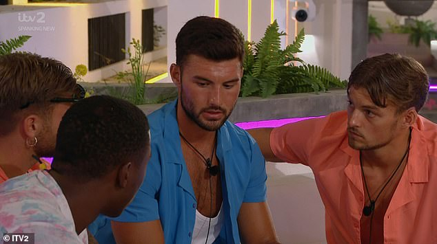 Deliberations: The boys had an intense discussion about which girl to vote out