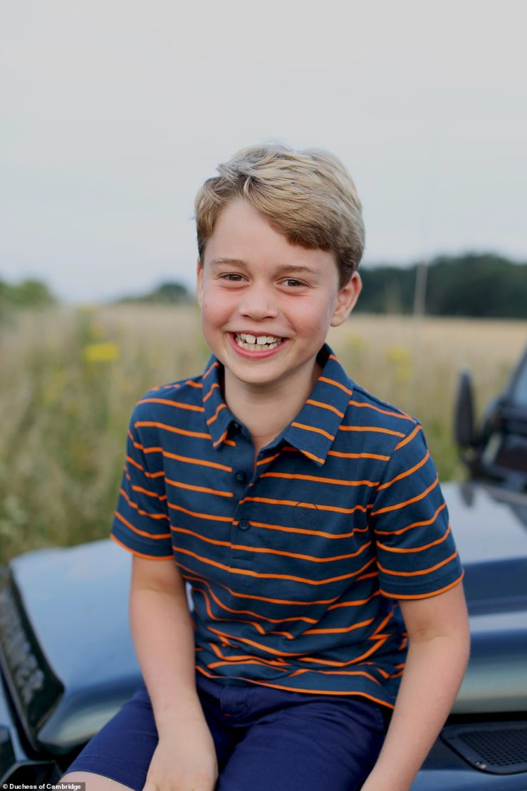 A new photo of Prince George to mark his eighth birthday shows him sitting on an off-road vehicle synonymous with his great-grandfather the Duke of Edinburgh.George, who celebrates his birthday on Thursday, is pictured beaming in the photograph, and is casually dressed in a £10 John Lewis polo-style striped top and shorts