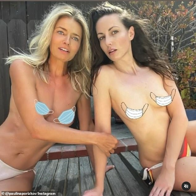 Covered! Paulina Porizkova and her friend Liz Carey showed off their figures in a topless photo on Wednesday, using mask emojis to cover their chests