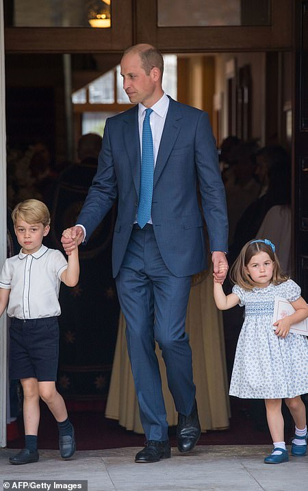 Prince George and Charlotte could be seen holding their father's hand at Prince Louis' christening on July 9, 2018