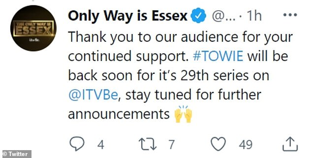 'Thank you': 'Those who won't appear regularly on screen next series will always be part of the TOWIE family and we wholeheartedly thank them for sharing their lives with us in recent years', the statement continued