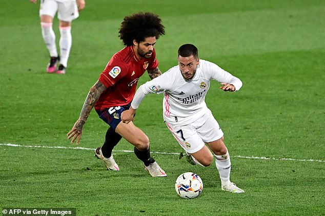 Hazard has endured a difficult spell at Real, scoring just five goals since his £88million move