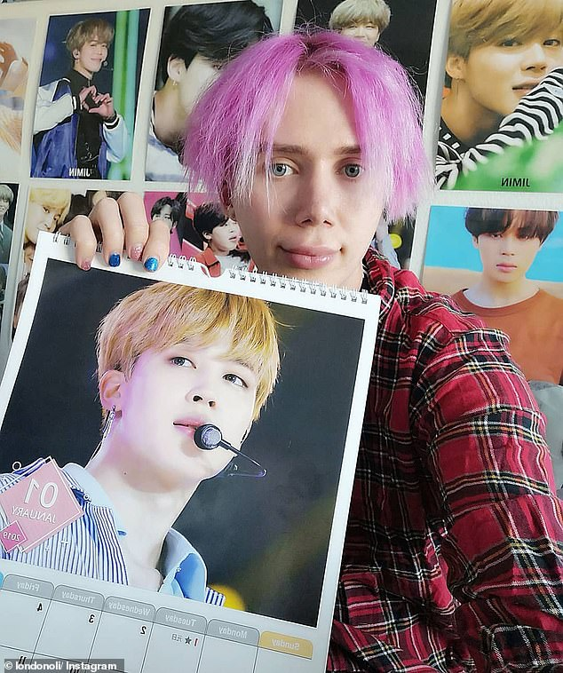 The 31-year-old has undergone 18 major procedures - including eye surgery, face and brow lifts, chest reduction and nose jobs - to resemble Jimin (pictured) from boyband BTS