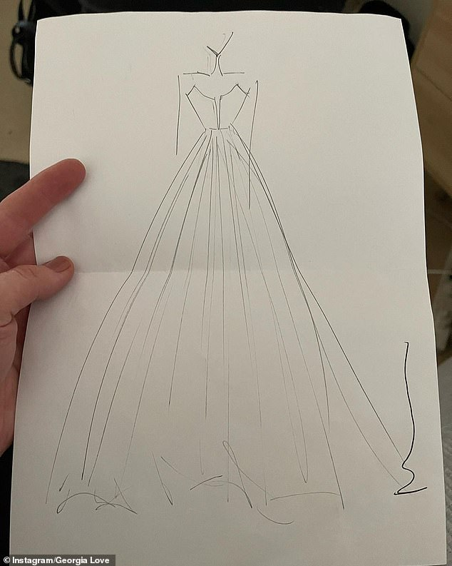Obsessed!  Georgia introduced the designer of her wedding dress on Instagram on Tuesday, sharing a preliminary sketch of the dress