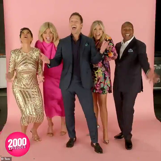 It's time to celebrate!  A video of hosts Sarah Harris and Tristan MacManus was also shared showing them snooping around the set with party props including gold balloons.