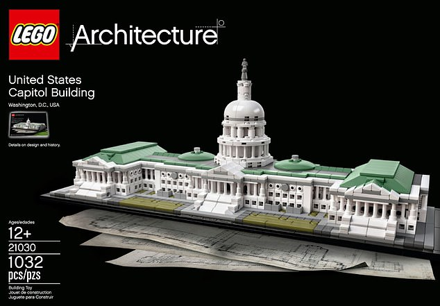After Morss was arrested, investigators 'recovered a fully constructed U.S. Capitol Lego set,' (similar to one pictured) from his home and was alleged to have been in possession of a handgun, a shotgun, and a rifle.