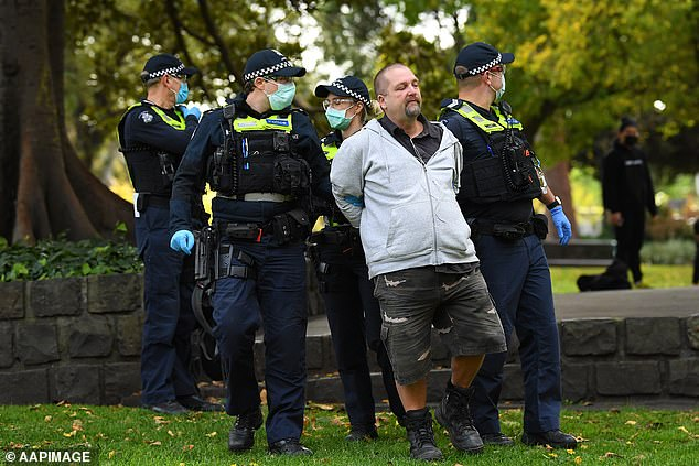 Police detain protester at Flagstaff Gardens in Melbourne Melbourne in May mei