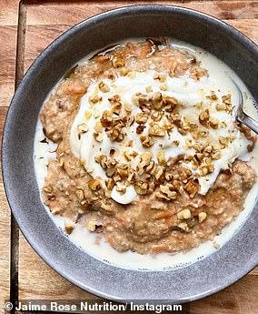 Jaime shared the recipe for carrot cake porridge online (pictured)