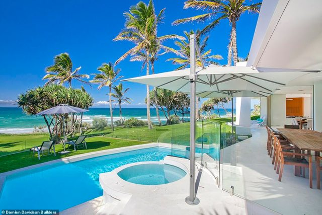 The breathtaking ocean views are in addition to the large area to entertain guests at the Noosa mansion