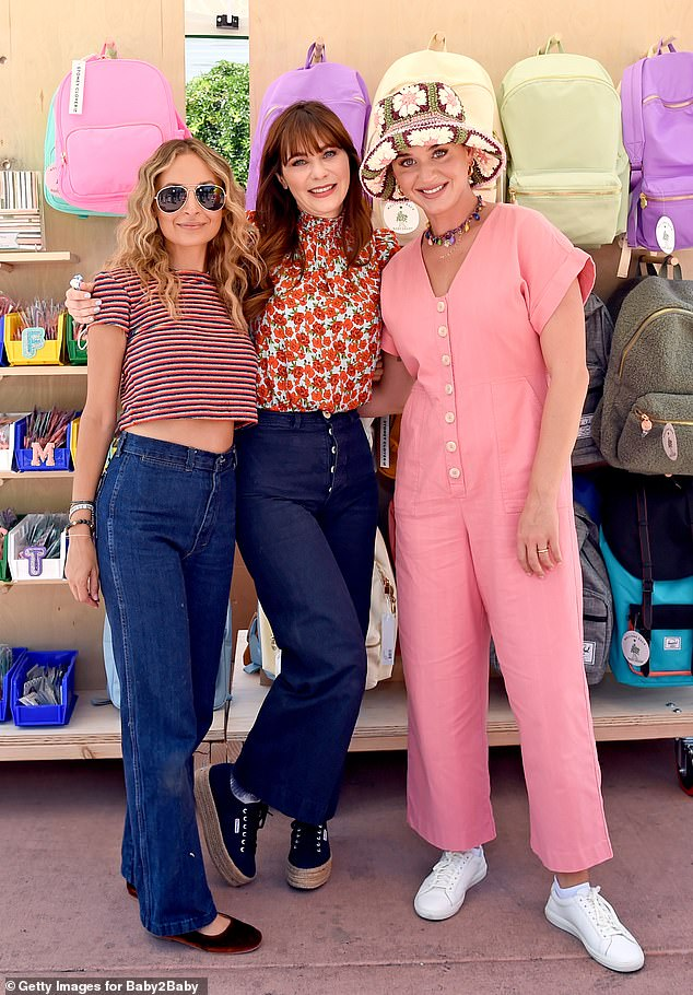 Giving Back: Katy Perry joined her fellow celebrity moms Nicole Richie and Zooey Deschanel at a children's charity event in Los Angeles on Wednesday