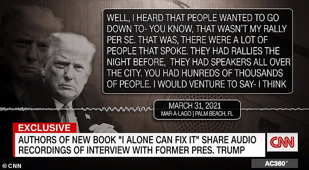 The audio recording of the March 31 interview was played on CNN on Wednesday (above)