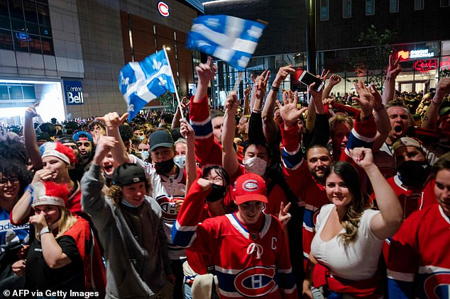 Prime Minister Justin Trudeau said on Monday that fully vaccinated Americans, who have been banned since March 2020, will be allowed to enter from August 9.  Pictured: Ice hockey fans in Montreal