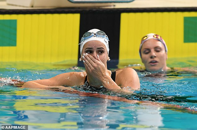 Kaylee McKeown after setting a world record in the 100m backstroke at the Australia Olympic Swimming Trials on June 13 in Adelaide