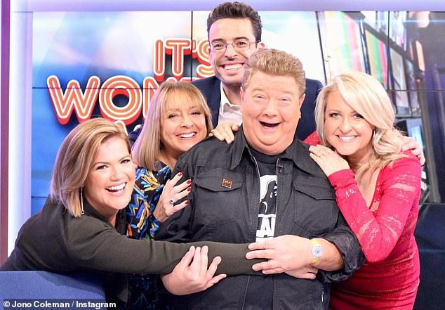 Buried: According to a Daily Telegraph report, Jono was buried by his wife Margot Fitzpatrick and their two children, Oscar and Emily.  In picture with his colleagues from Studio 10