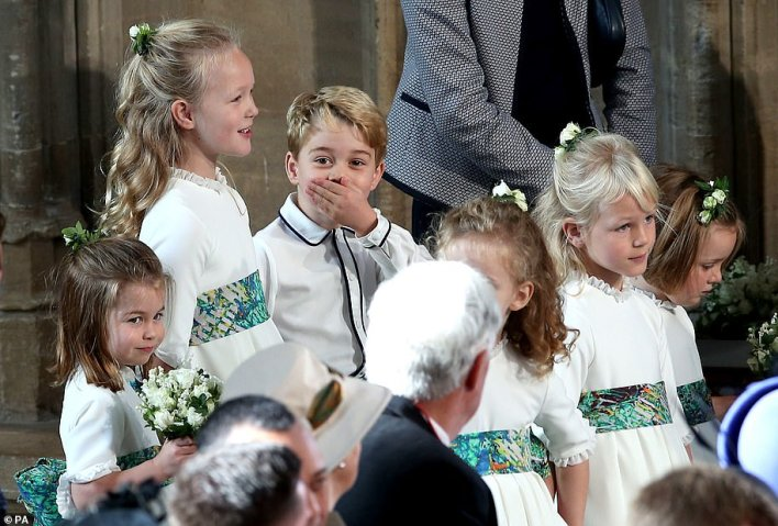 Cheeky page boy! The birthday boy couldn't contain his excitement during Princess Eugenie's wedding in Windsor on 12 October 2018 - and was pictured with his hand over his mouth in shock