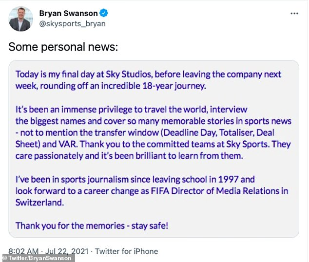 Swanson made the announcement in a Twitter post Thursday morning as he prepares to leave the broadcaster after nearly two decades