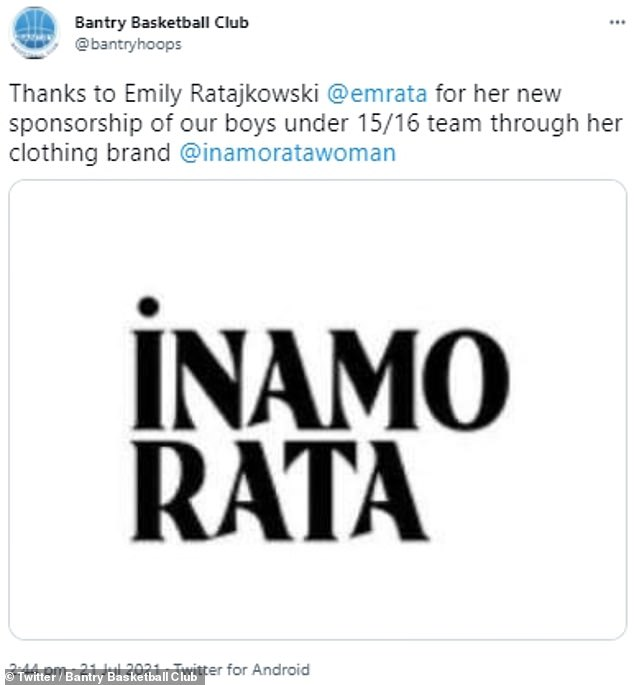Astonishingly, the sports club shared the news on Twitter on Wednesday, explaining that Emily has sponsored their boys under 15/16 team through its Inamorata brand