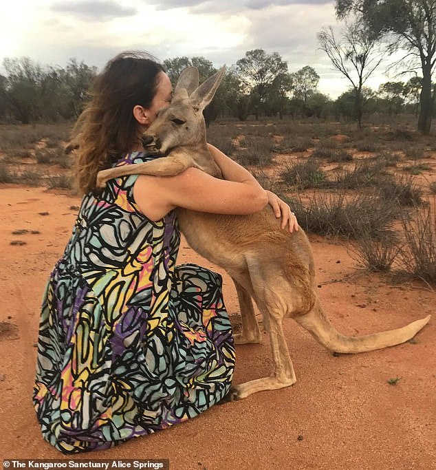 An adorable kangaroo named Abigail hugs the wildlife workers who have rescued her every day for the past 15 years