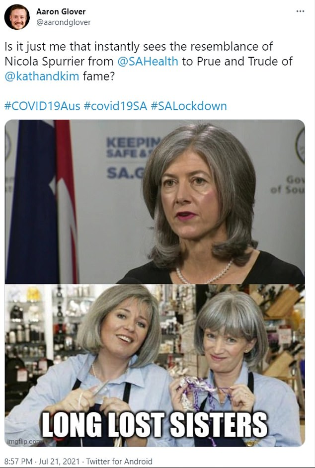 A meme comparingChief Health Officer Professor Nicola Spurrier, to Kath and Kim character Prude and Trude has proved a popular online meme