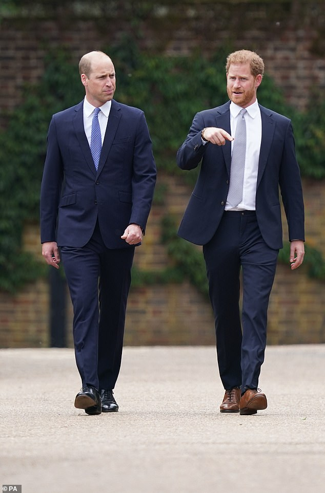 The Duke of Cambridge and Duke of Sussex arrive for the unveiling of a statue they have ordered for their mother Diana, Princess of Wales at the Sunken Garden at Kensington Palace, London, on what would be her 60th birthday on Thursday, July 1, 2021
