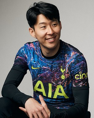 Son Heung-Min poses in the new shirt, which contains a variety of colors