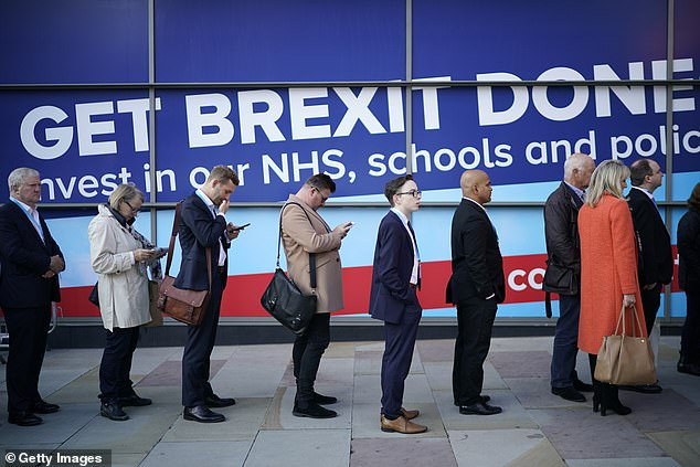 Tory insiders told MailOnline that proof people are double-jabbed is set to be required at the gathering in Manchester in October. Pictured, activists queue at the event in 2019