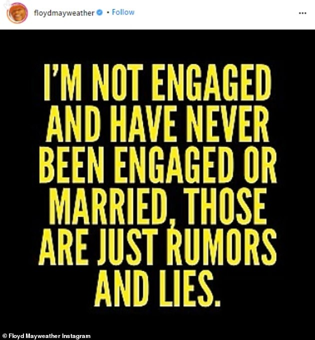 Statement: Floyd shared a forcefully worded message saying that reports about his relationship status were 'rumors and lies'