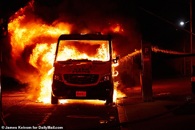 A New York police van was set on fire during Black Lives Matter protests on May 30, 2020