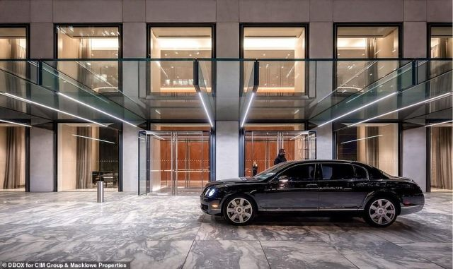 The building also offers a covered entryway where vehicles can be dropped off discreetly for the rich and famous