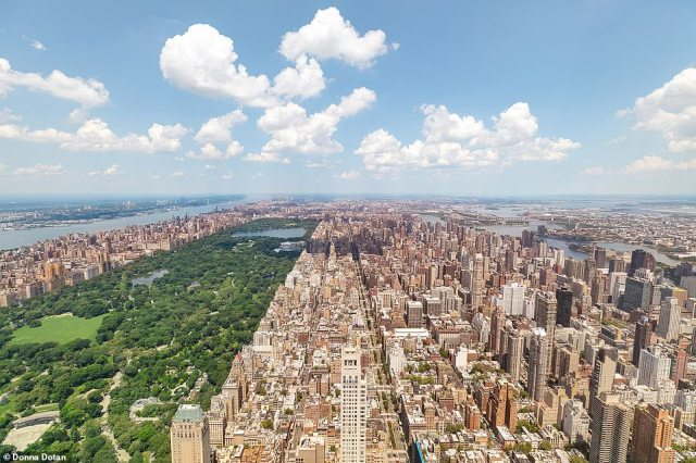 The penthouse, located on the 96th floor at 432 Park Ave., offers a panoramic view of Central Park (left)