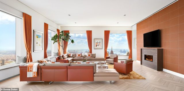 The living room is 93-feet long and provides a 360 degree view of Manhattan