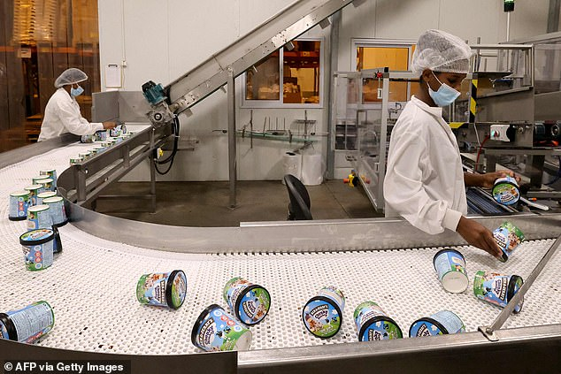 Herzog's comments followed an announcement by Vermont-based firm Ben & Jerry's that they will no longer sell ice cream in the occupied West Bank and East Jerusalem. Pictured: A production line in Be'er Tuvia