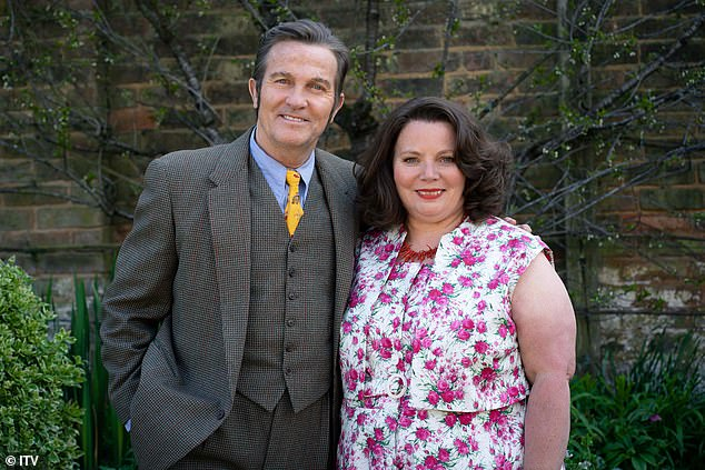 In character:Bradley Walsh cut a very dapper figure as he transformed into Pop Larkin and joined co-star Joanna Scanlan as Ma in a first look snap from The Larkins released on Thursday