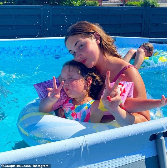 Loved it: Jacqueline Jossa wowed her Instagram followers with unseen snaps from her huge yard on her 1.2 million pound Essex pad as she enjoyed quality family time in the pool on Monday