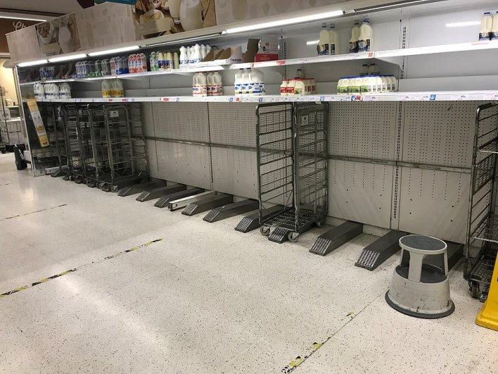 This MailOnline reader sent in this photograph of the empty milk aisle of his local Sainsbury's in Richmond, south-west London