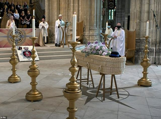Still taken with permission from the Canterbury Cathedral YouTube feed.The coffin of Police Community Support Officer Julia James rests in front of the altar during her funeral service at Canterbury Cathedral