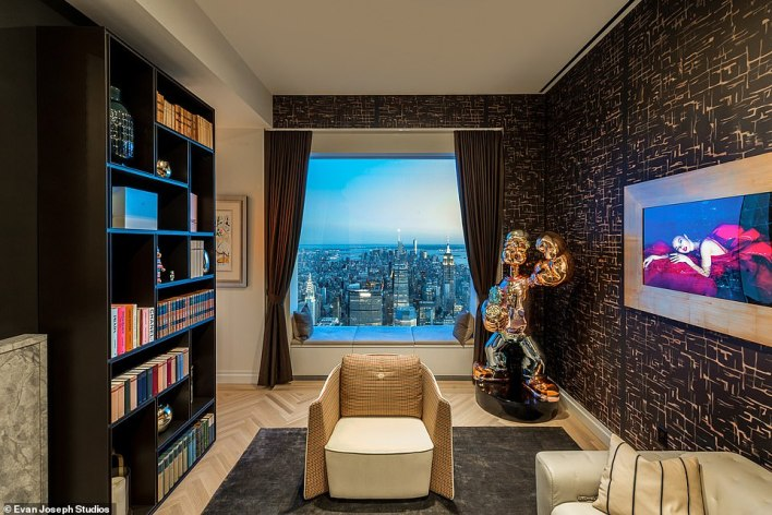 The penthouse includes accessories from Louis Vuitton, Hermes and Bentley