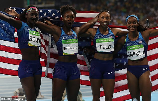 After nearly crashing out in the heats, Team USA cruised in the women's 4x100m relay final