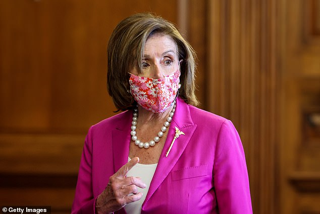House Speaker Nancy Pelosi said guests at a Capitol reception Wednesday night were 'expected to wear a mask' after one of her vaccinated staffers contracted coroanvirus