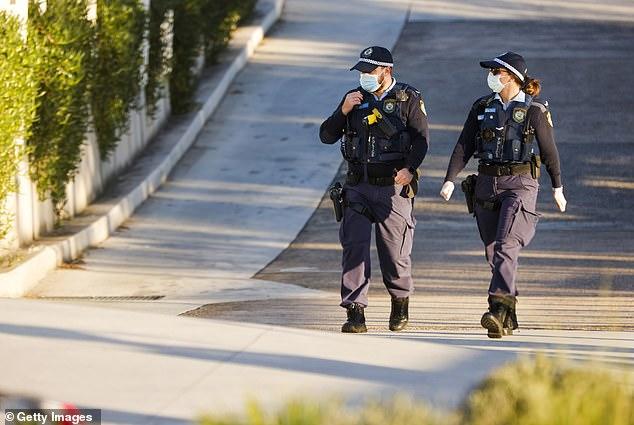 Police patrol the streets of Sydney's eastern suburbs on Thursday