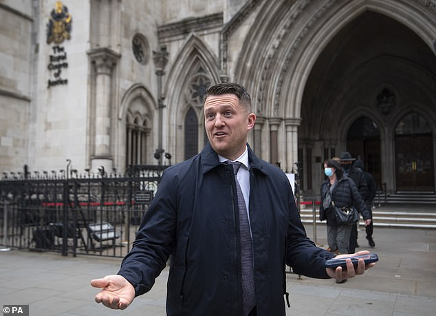 The English Defence League founder - whose real name is Stephen Yaxley-Lennon - today lost a libel claim brought by a Syrian schoolboy. He is seen outside court yesterday
