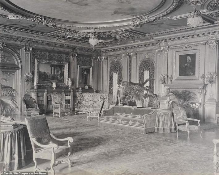 The ballroom was once decorated with lavish furniture, expensive paintings and glittering chandeliers hanging from the ceiling